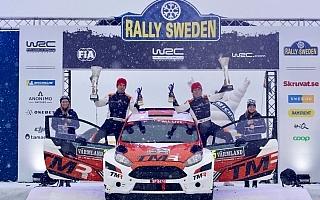 WRCスウェーデン:勝田貴元がティデマンドを抑えWRC2初優勝