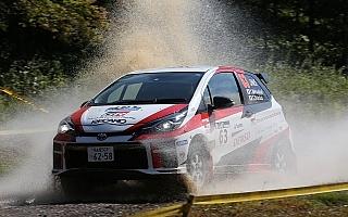 全日本ラリー北海道:TGR Vitz GRMN RallyはSS4でコースアウト